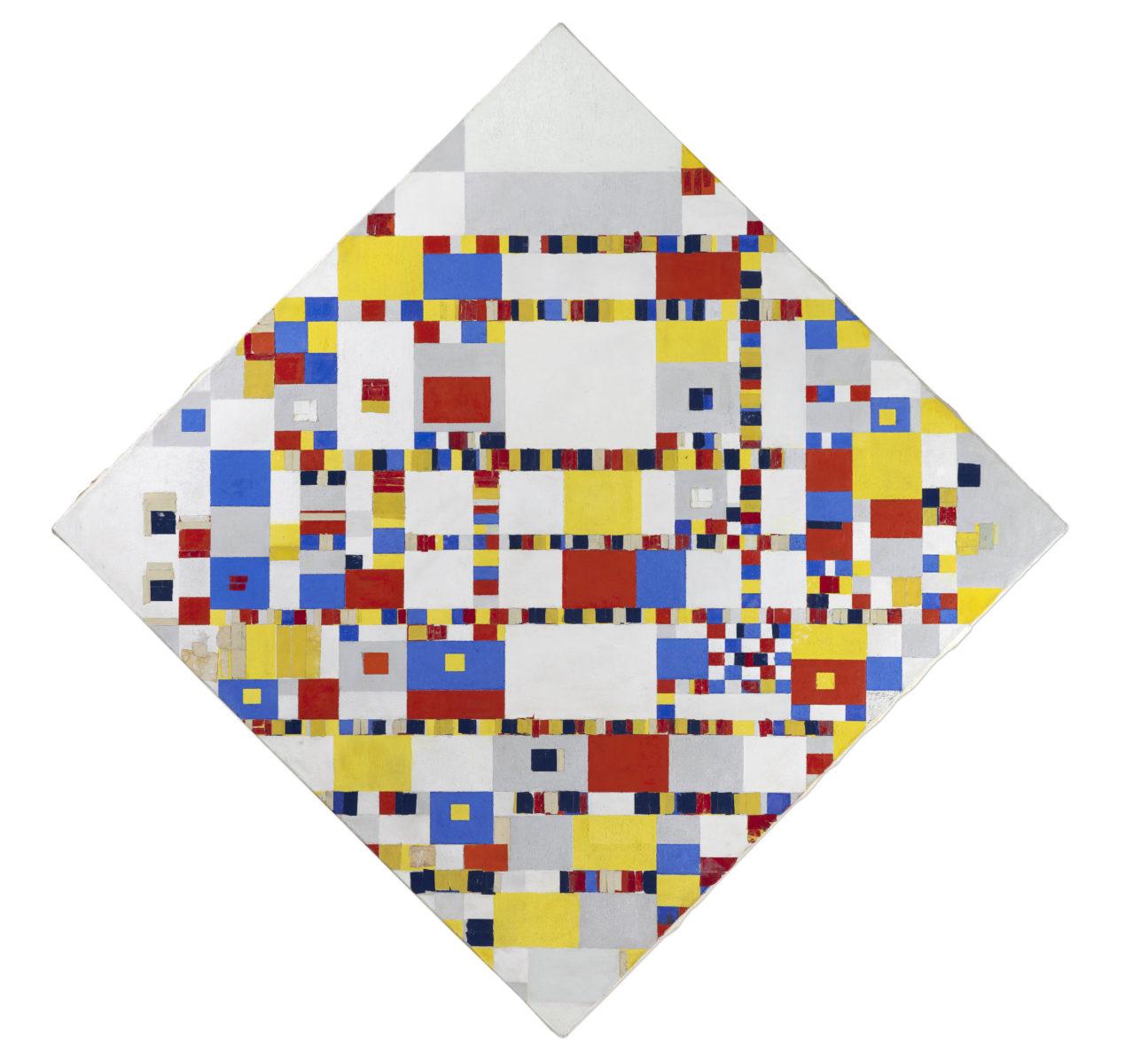 Piet Mondrian (1872-1944), Victory Boogie Woogie, 1942/1944 (New York). Dauerleihgabe Instituut Collectie Nederland, Amsterdam. Öl, Holzkohle und Bleistift auf Leinwand 127,5 x 127,5 cm. Gemeentemuseum Den Haag.