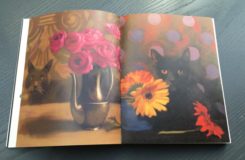 """Nicht umsonst gibt des den Begriff Buchkunst. Schöne Bücher bereichern unser Leben! Hier eine Doppelseite aus dem Buch """"Katzen in der Kunst"""" aus dem Dumont-Verlag."""