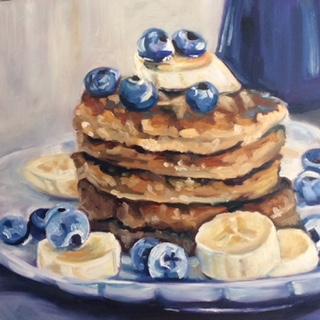 Daily Painting: Ölbild mit Pancakes und leuchtend-blauen Blaubeeren. (© Sonja Neumann)