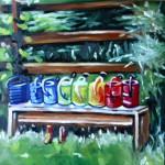 Daily Painting: Ölbild Gießkannen in bunter Folge. (© Sonja Neumann)
