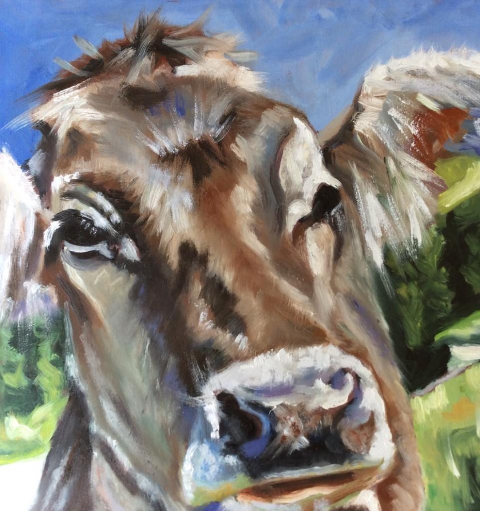 Daily Painting: Ölbild Kuh im Porträt (© Sonja Neumann)