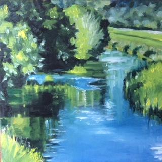 Daily Painting: Wasser in tiefem Blau mit Spiegelung. (© Sonja Neumann)