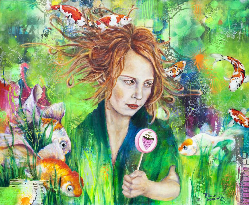 Birgit Lorenz Acrylbild bunte Kois Mädchen