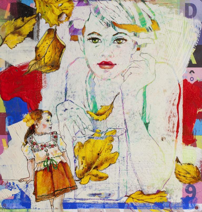 Birgit Lorenz Acrylbild kleines Mädchen im Dirndl Teenager.