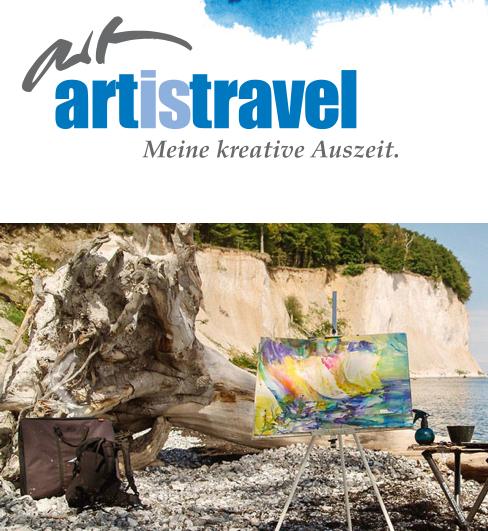 Unter fachkundiger Anleitung am Strand malen - Malreisen mit Artistravel machen es möglich (Screenshot artistravel.de, Startseite)