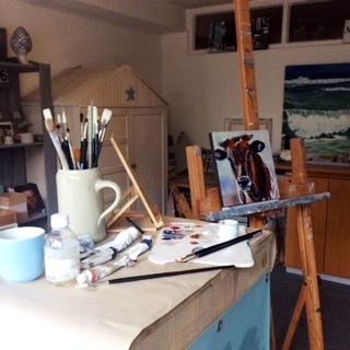 Atelier von Sonja Neumann vom Blog Daily Painting (Foto: Sonja Neumann)