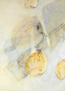 """In der Serie """"Quitte – Rosengewächs"""" wendet sich die Künstlerin Ursula Heermann-Jensen wieder der Naturbetrachtung zu und bildet eine Quitte im Prozess der Blüte, Reife und des Vergehens ab. (Foto: Ursula Heermann-Jensen)"""