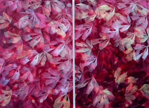 """Gezeigt wird das in Rottönen gehaltene Werk """"Sommer 2011"""", Acryllasur auf Holz, Diptychon. (Foto: Ursula Heermann-Jensen)"""