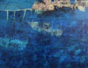 """Die maritime Szene aus Ursula Heermann-Jensens Serie """"Unterwegs"""" entstand mithilfe eines Holzschnitts. (Foto: Ursula Heermann-Jensen)"""