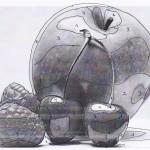 Ein Schwarz-weiß-Foto eines Apfels mit Kirschen wurde in fünf verschiedenen Helligkeitszonen eingeteilt.