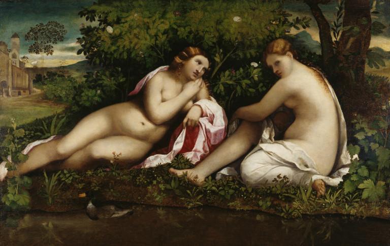 Palma Vecchio (Jacopo Negretti),1480-1528, Jupiter in der Gestalt Dianas wirbt um Kallisto. Öl auf Pappelholz, 98 x 152 cm. Städel Museum, Frankfurt am Main.