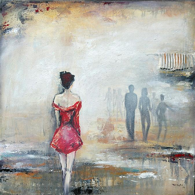 Frau von hinten im roten Kleid Arcyl auf Keilrahmen