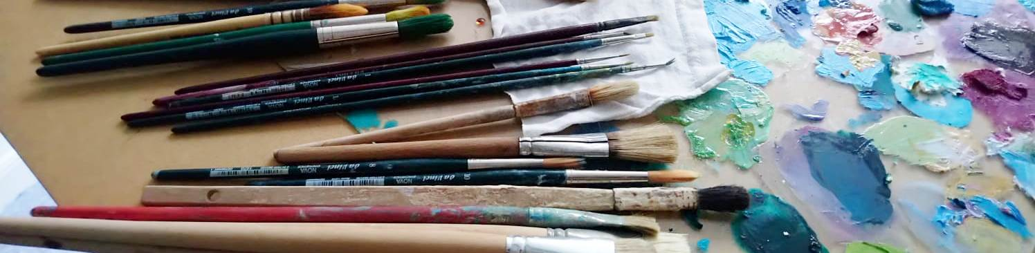 Pinsel Palette Farbkleckse