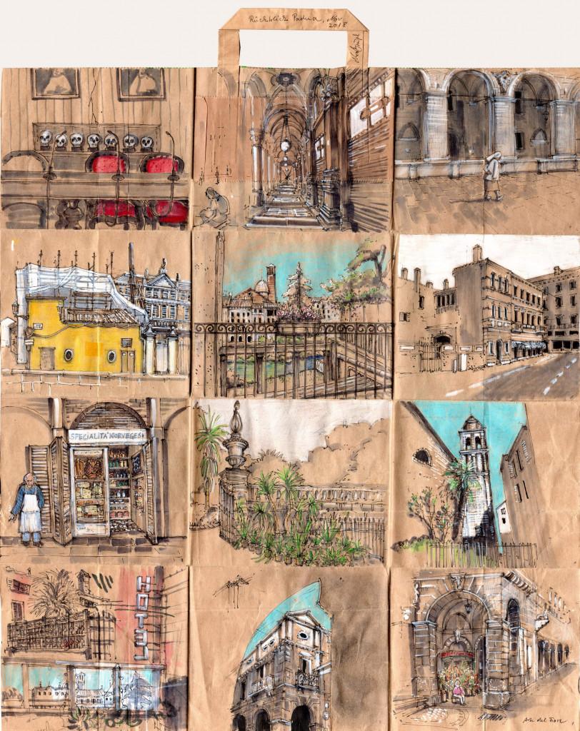 kolorierte Stadtszenen Padua auf Papiertüte