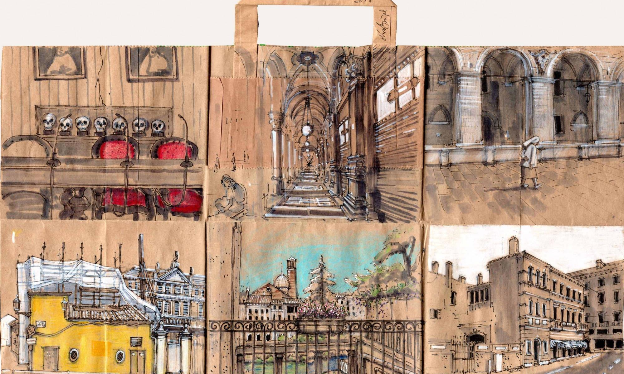 Nora Brügel Zeichnungen auf Papiertüte