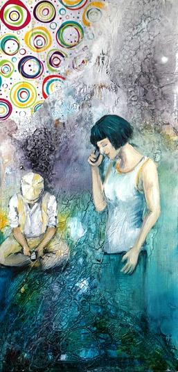 Mann und Frau mit Handys Acrylfarbe Mixed-Media