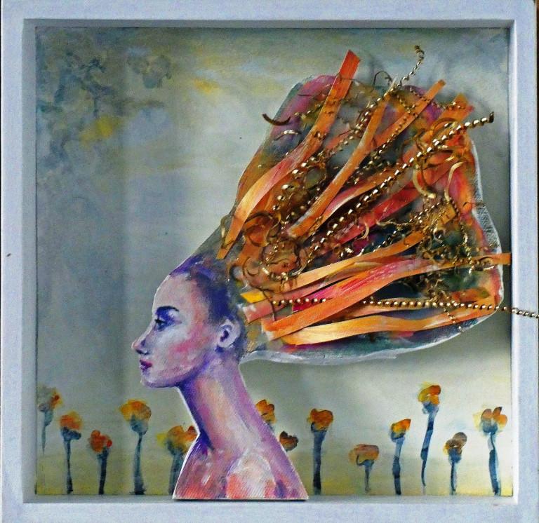 Frauenkopf wehende Haare Acrylfarbe Holzkasten