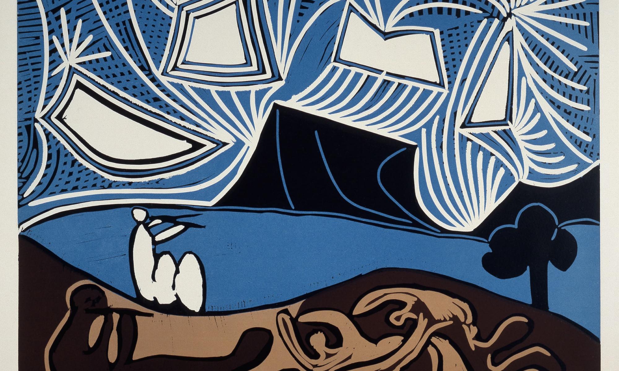 Picasso Linolschnitt Paar Flötisten Seeufer