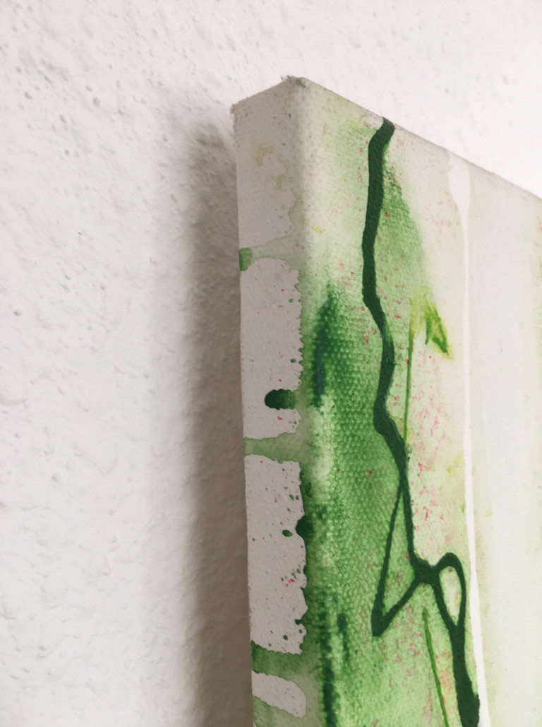 Acrylfarben 3: Malgründe, Farbspuren auf dem Keilrahmenrand