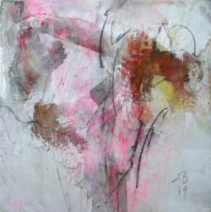 Angelika Biber, Collage mit Rost und Wachs 1