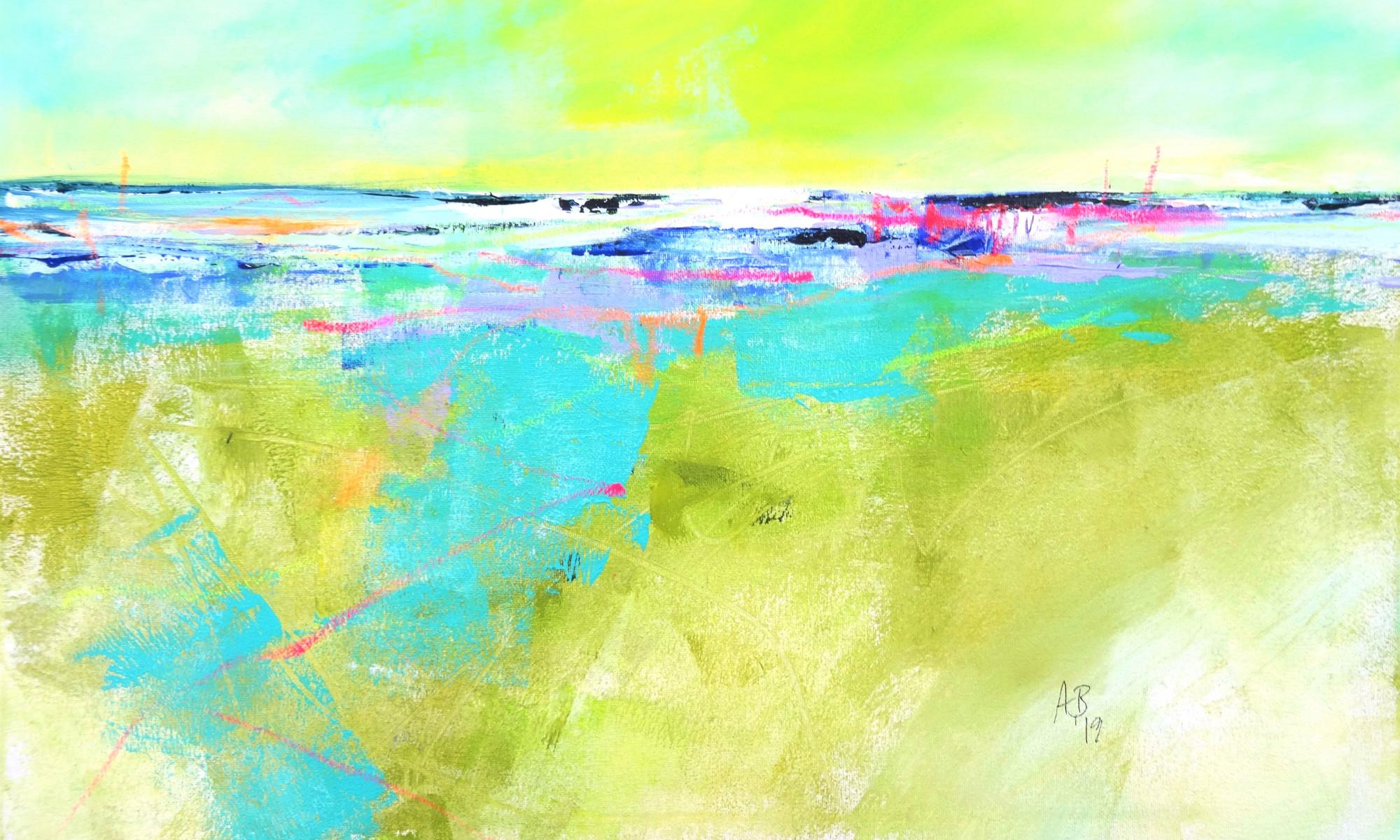 """Angelika Biber: """"Frischer Horizont"""", Acryl und Ölkreide auf Leinwand, fertiges Bild"""
