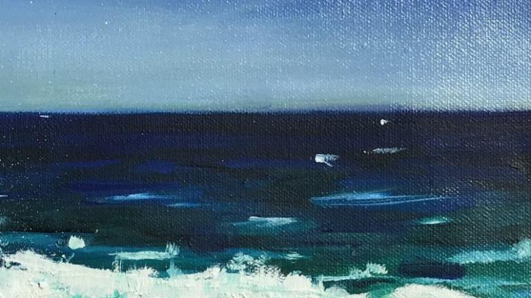 Sonja Neumann Strandwelle, Wasser am Horizont