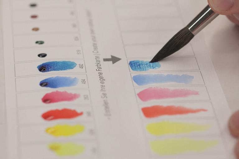 Farbaufstriche Aquarellfarben