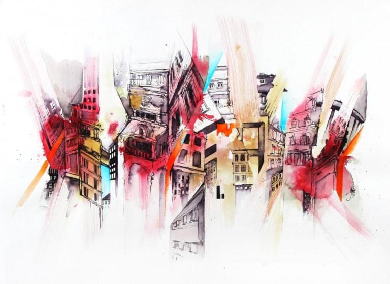 Gris Häuser Zeichnung Aquarell