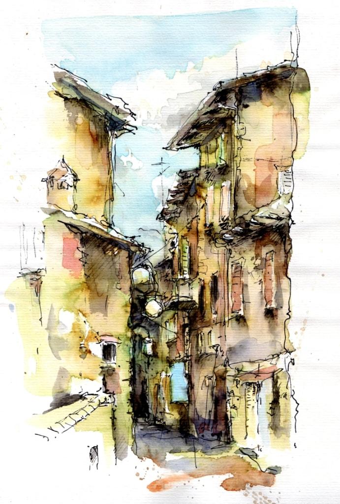 Gris Urban Sketching mediterrane Straße