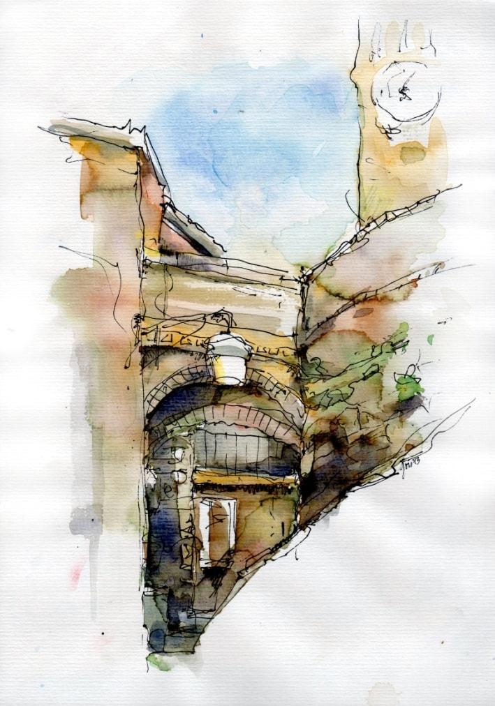 Gris Urban Sketching Torbogen