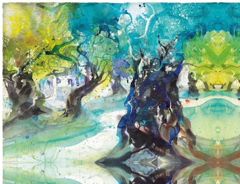 Wilhelm Fikisz, Olivenbäume auf Mallorca Aquarell