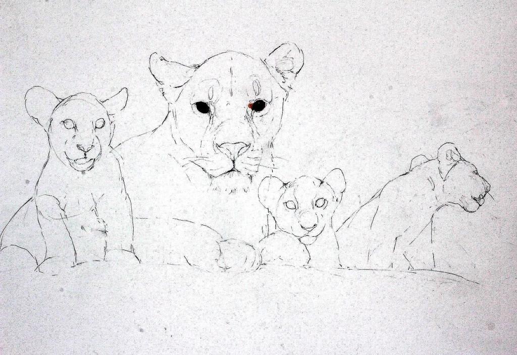 Bodo Meier, Löwin mit Jungen Schritt 1