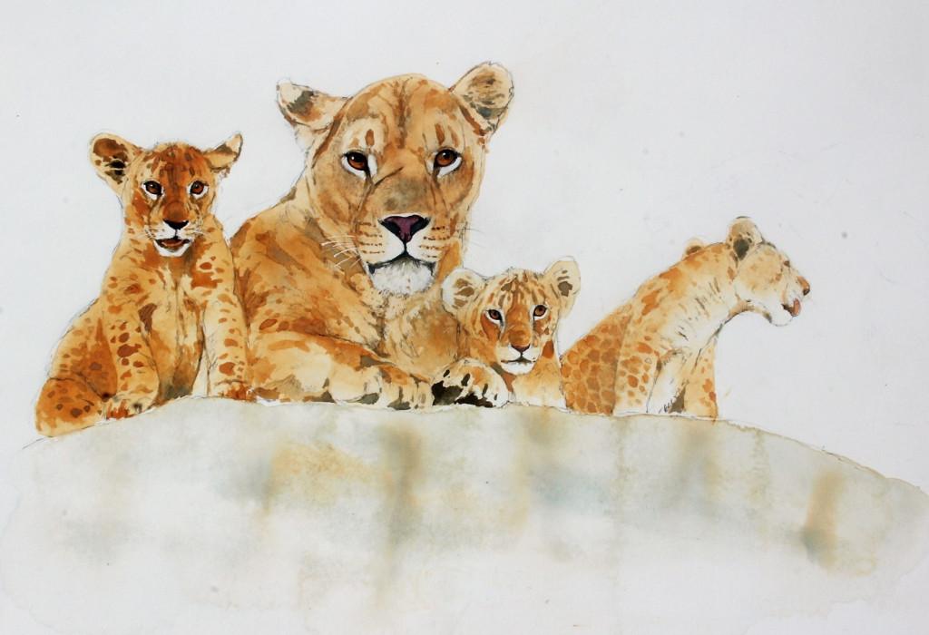 Bodo Meier, Löwin mit Jungen Schritt 10