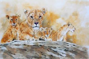 Bodo Meier, Löwin mit Jungen Schritt 11