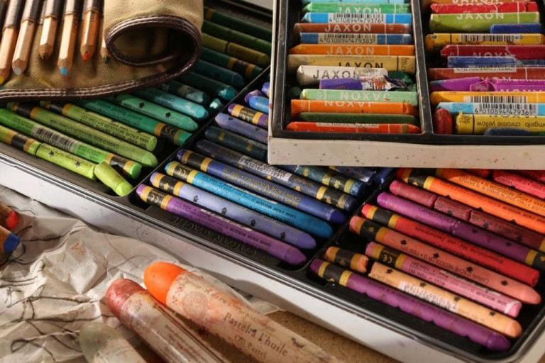 Various pastels - traditional pastels, thicker and thinner oil pastels