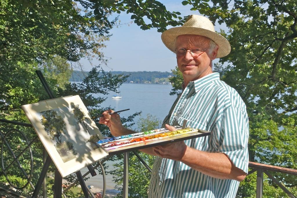 Werner Maier beim Malen en plain air