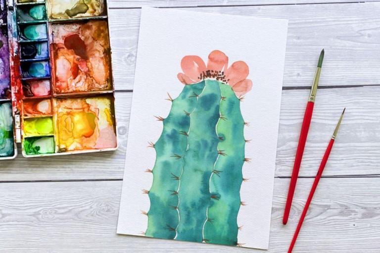 Stapff Watercolor Kaktus mit Blüte