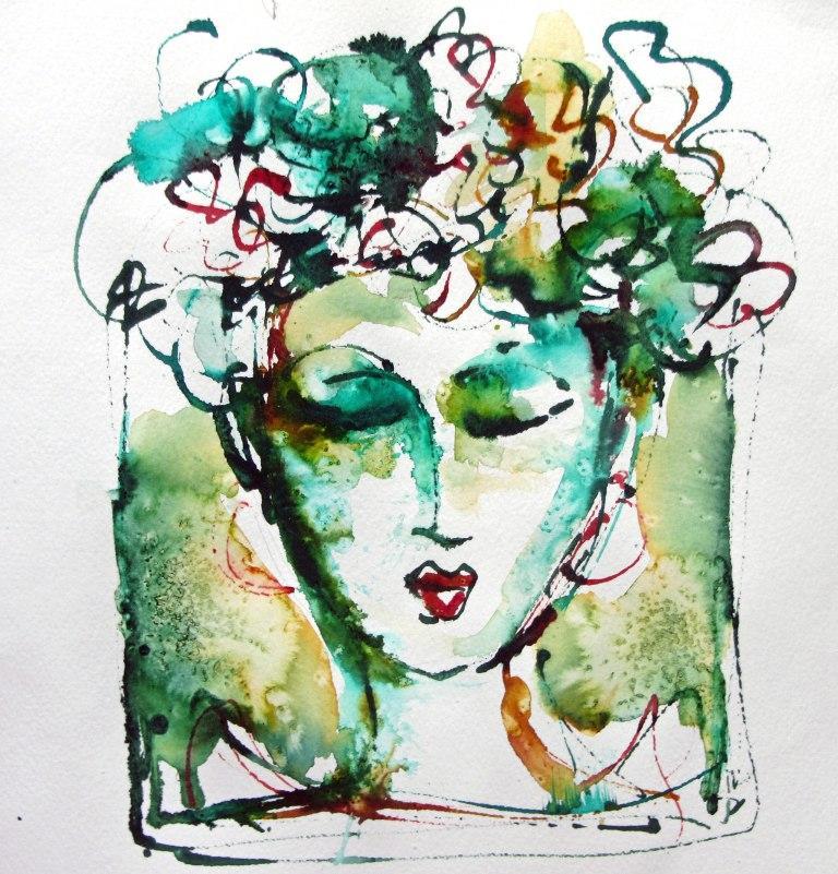Linnemeier lady with flowers green