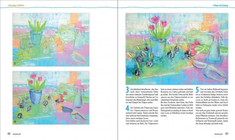 Angelika Biber Botanicals S. 88 89 Collage mit Zeitung