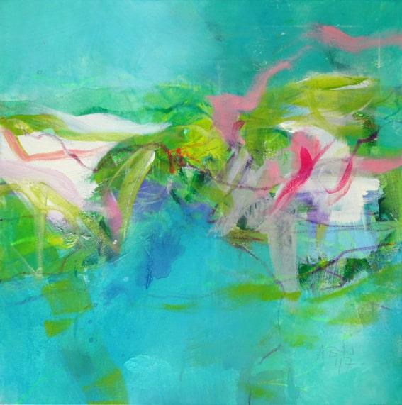 Angelika Biber, Acrylbild, Leichtigkeit im Bild durch lockeren Pinselduktus