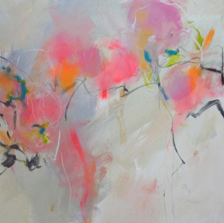 Angelika Biber, Acrylbild, Leichtigkeit durch dynamische Anordnung