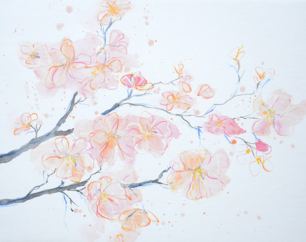 Angelika Biber, Acryl Kirschblüten Frühling Veränderung