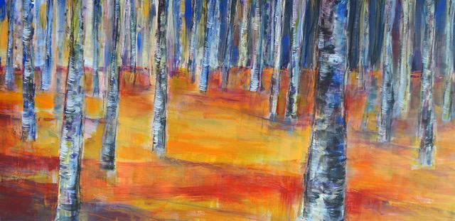 Angelika Biber, Acryl Bäume Herbst Veränderung