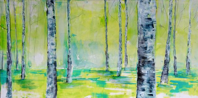 Angelika Biber, Acryl Bäume Frühling Veränderung