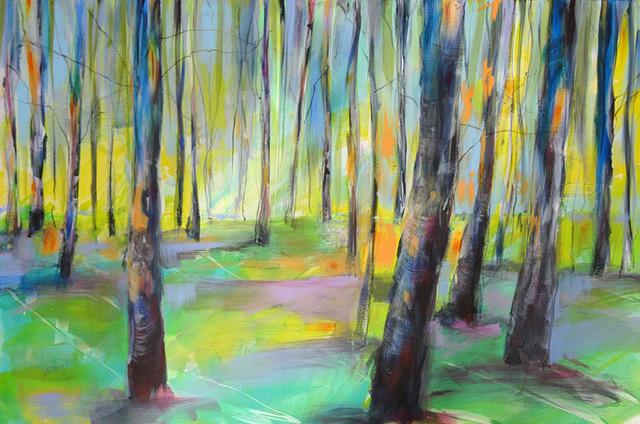 Angelika Biber, Acryl Bäume Sommer Veränderung