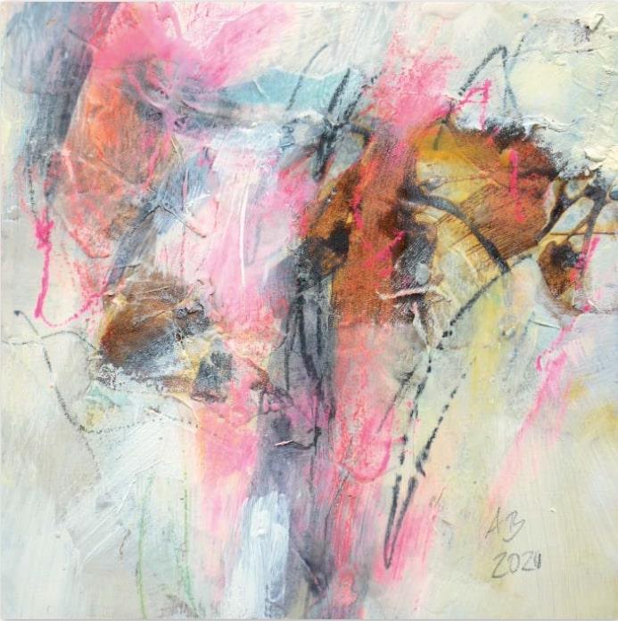 Angelika Biber, Rostcollage abstrakt, FrauenPower in der Kunst S. 19