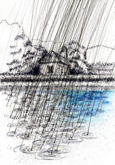 Tuschezeichnung Gewässer mit kleinem Haus im Regen