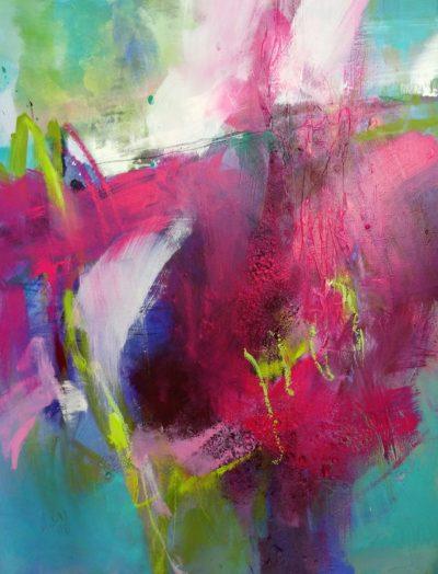 Abstrahierte Blütenformen in Pink, Blau und Grün