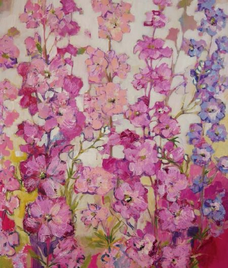 Ruth Alice Kosnick, Buch Flower Power in Acryl Rosa Rittersporn S. 77