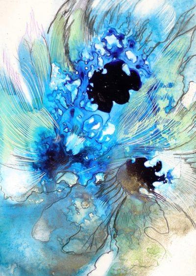 Brigitte Waldschmidt, Freie Arbeit in Blautönen Aquarell
